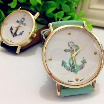 Anchor Watch Retro Quartz Watch Lea..