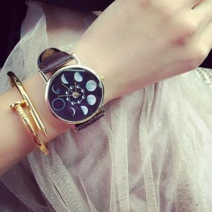 Moon Eclipse Watch Leather Watchban..