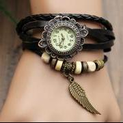 Handmade Leather Strap Watches Woman Girl Quartz Wrist Watch Bracelet Watch Black