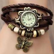 Handmade Vintage Quartz Weave Around Leather Bracelet Lady Woman Wrist Watch With Butterfly Charm Dark Brown