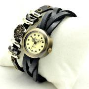 Vintage Weaving Leather Band Classic Face Watches Lady Women Girl Quartz Wrist Watch Black