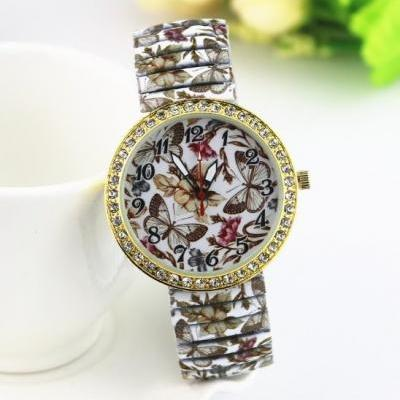 Vintage Butterfly Face Stainless Steel Band Unisex Wrist Watch For Men Lady Retro Round Quartz Watch Pattern 1