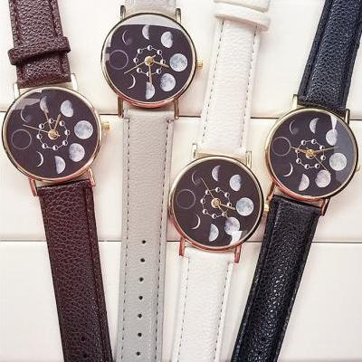 Moon Eclipse Watch Leather Watchband Unisex Wrist Watch For Men Lady Retro Round Quartz