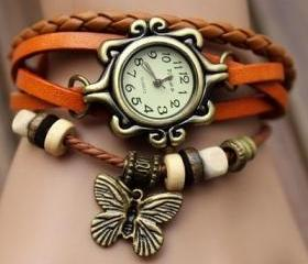 Handmade Vintage Quartz Weave Around Leather Bracelet Lady Woman Wrist Watch With Butterfly Charm Light Brown