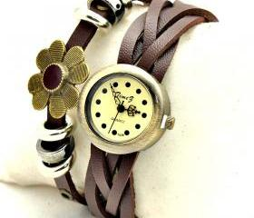 Vintage Weaving Leather Flower Band Classic Face Woman Girl Quartz Wrist Watch Brown