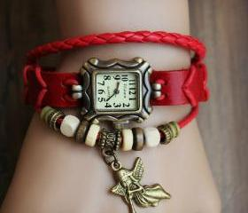 Handmade Vintage Real Leather Strap With Little Angel Charm Decorated Watches Woman Girl Quartz Wrist Watch Bracelet Watch Red