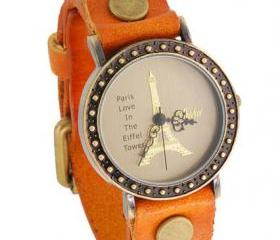 Handmade Vintage Eiffel Tower Pattern Analog Watches Leather Band Woman Girl Quartz Wrist Watch Light Brown