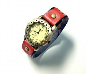 Handmade Vintage Double Leather Band Watches Woman Lady Girl Quartz Wrist Watch Red