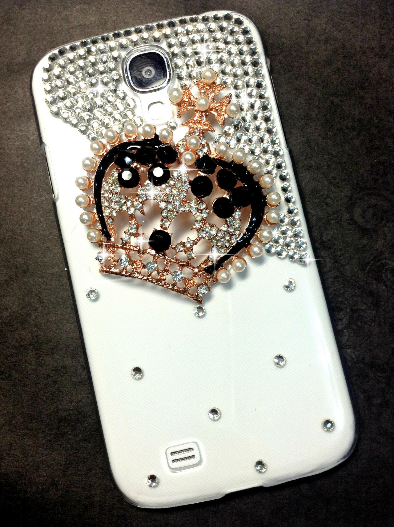 3D Handmade Crown Crystal Design Case Cover For Samsung Galaxy S 4 S4 IV LTE i9500 i9505