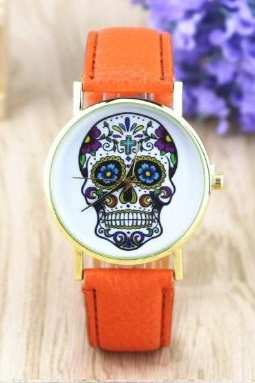 Handmade Vintage Suger Skull Face Leather Watchband Unisex Wrist Watch For Men Lady Retro Round Quartz Orange
