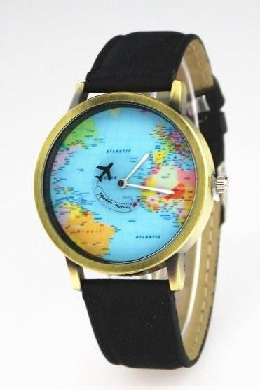 Vintage World Map Face Leather Watchband Unisex Wrist Watch For Men Lady Retro Round Quartz Black