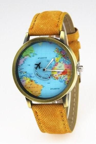 Handmade Vintage World Map Face Leather Watchband Unisex Wrist Watch For Men Lady Retro Round Quartz Yellow