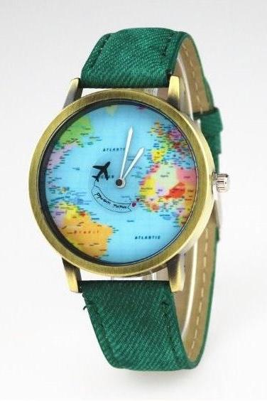 Handmade Vintage World Map Face Leather Watchband Unisex Wrist Watch For Men Lady Retro Round Quartz Green