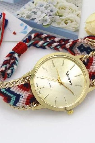 Retro Colorful Weave Band Quartz Watch Unisex Wrist Watch For Men Lady Retro Round Quartz Watch Pattern 8
