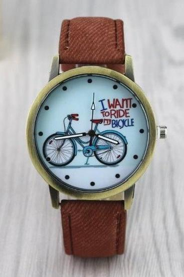 Bicycle Retro Quartz Watch Leather Band Unisex Wrist Watch For Men Lady Retro Round Quartz Watch Brown