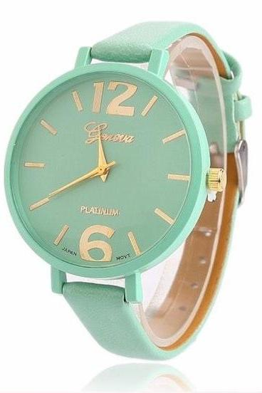 Big Face Small Band Retro Quartz Watch Leather Band Unisex Wrist Watch For Men Lady Retro Round Quartz Watch Mint