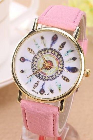 Feather Retro Quartz Watch Leather Band Unisex Wrist Watch For Men Lady Retro Round Quartz Watch Pink