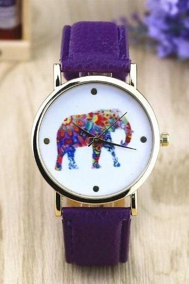 Elephant Retro Quartz Watch Leather Band Unisex Wrist Watch For Men Lady Retro Round Quartz Watch Purple
