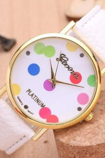 Dots Retro Quartz Watch Leather Band Unisex Wrist Watch For Men Lady Retro Round Quartz Watch White