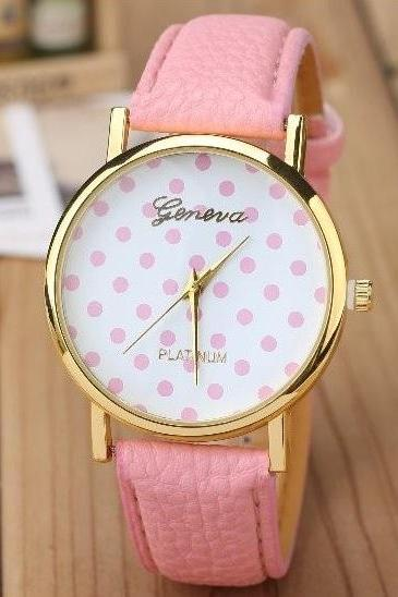 Small Dots Retro Quartz Watch Leather Band Unisex Wrist Watch For Men Lady Retro Round Quartz Watch Pink