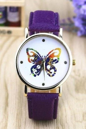 Butterfly Watch Retro Quartz Watch Leather Band Unisex Wrist Watch For Men Lady Retro Round Quartz Watch Purple