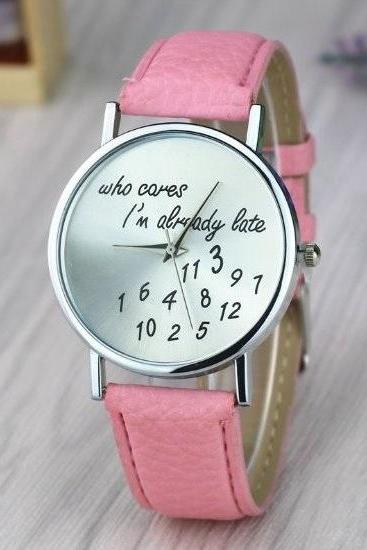Time Watch Retro Quartz Watch Leather Band Unisex Wrist Watch For Men Lady Retro Round Quartz Watch Pink