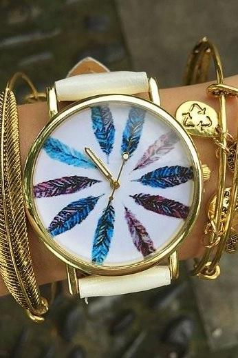 Feather Watch Face Leather Watchband Unisex Wrist Watch For Men Lady Retro Round Quartz White