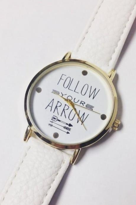 Follow Your Arrow Watch Retro Quartz Watch Leather Band Unisex Wrist Watch For Men Lady Retro Round Quartz Watch White
