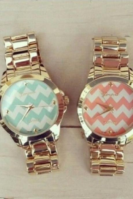 Steel Strap Chevron Watch Steel Strap Watchband Unisex Wrist Watch For Men Lady Retro Round Quartz