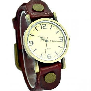 Vintage Leather Watchband Unisex Wrist Watch For Men Lady Retro Round Quartz Red