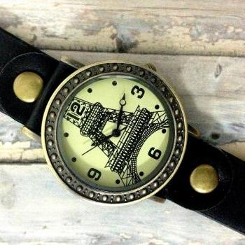 Handmade Vintage Eiffel Tower La Tour Analog Elegant Watches Leather Woman Girl Quartz Wrist Watch Black