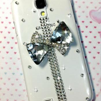 3D Handmade Crystal Bow Design Case Cover For Samsung Galaxy S 4 S4 IV LTE i9500 i9505