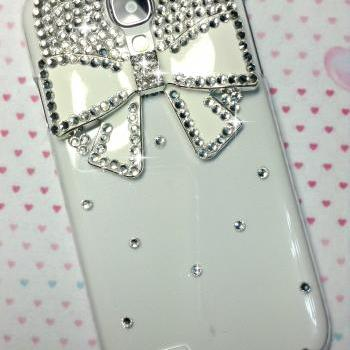 3D Handmade Bow Crystal Design Case Cover For Samsung Galaxy S 4 S4 IV LTE i9500 i9505
