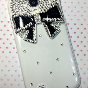 3D Handmade Black Bow Crystal Design Case Cover For Samsung Galaxy S 4 S4 IV LTE i9500 i9505