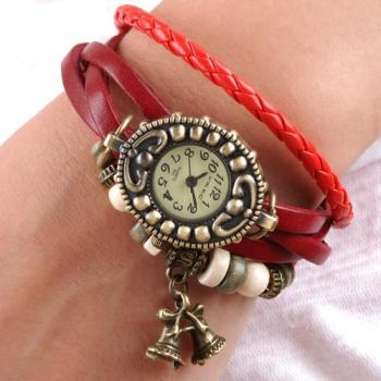 Handmade Vintage Quartz Weave Around Leather Bracelet Lady Woman Girl Wrist Watch With Bell Charm Red