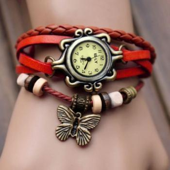 Handmade Vintage Quartz Weave Around Leather Bracelet Lady Woman Wrist Watch With Butterfly Charm Red