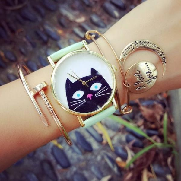 Lovely Cat Watch Retro Quartz Watch Leather Band Unisex Wrist Watch For Men Lady Retro Round Quartz Watch Green