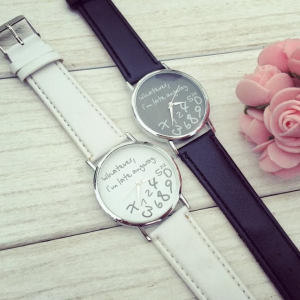 I'm already late Style Watch Leather Watchband Unisex Wrist Watch For Men Lady Retro Round Quartz